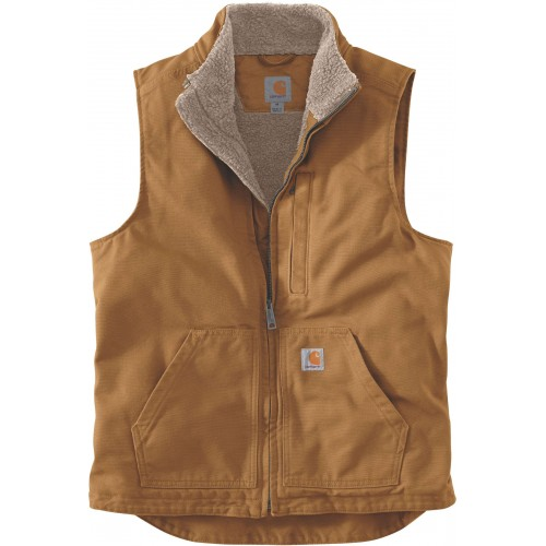 Loose Fit Washed Duck Sherpa-lined Mock-neck Vest